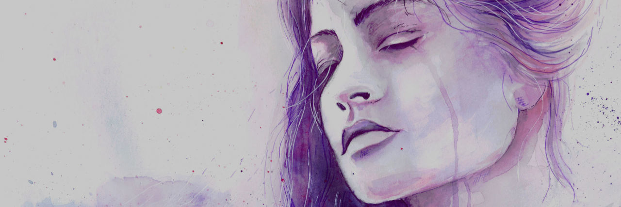 A water color image of a woman crying - purple in color.
