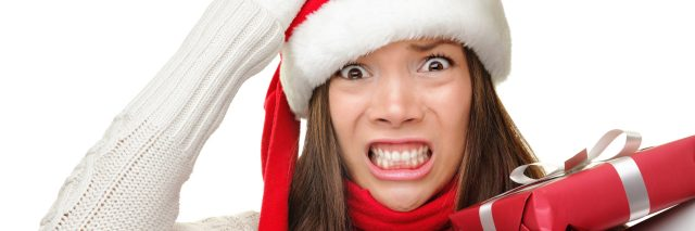 Christmas stressed out woman.