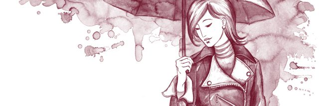 illustration of woman wearing rain coat and holding an umbrella