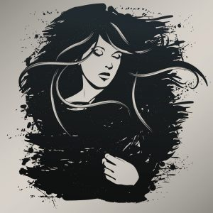 illustration of a woman surrounded by darkness