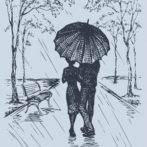 A couple walking down a road as rain falls own and they're covered by an umbrella.