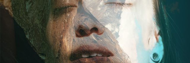 Double exposure portrait of attractive woman combined with photograph of Himalayas