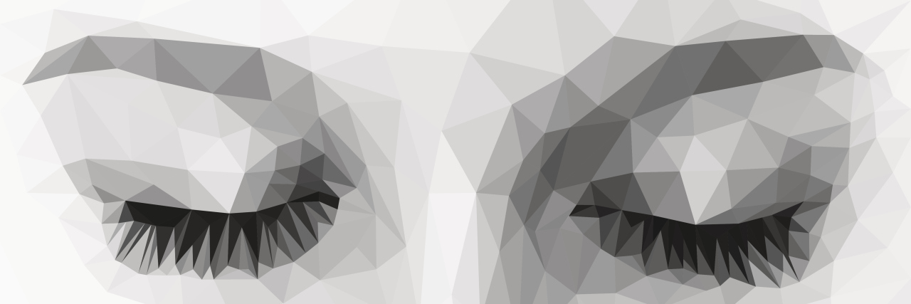 polygonal eyes closed monochrome