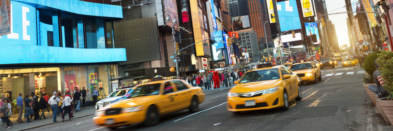 Taxis in Times Square, New York City.