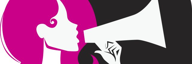 illustration of woman yelling into a megaphone