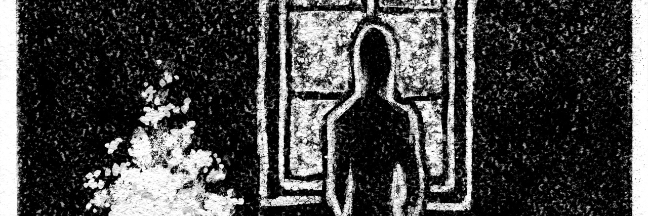 Lone woman silhouette opposite the window in a dark room, Christmas tree in the corner. Charcoal drawing digital imitation.