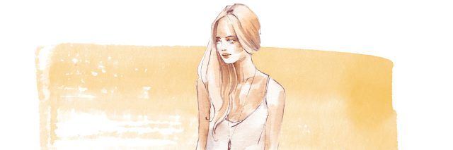 A watercoloring of a woman.