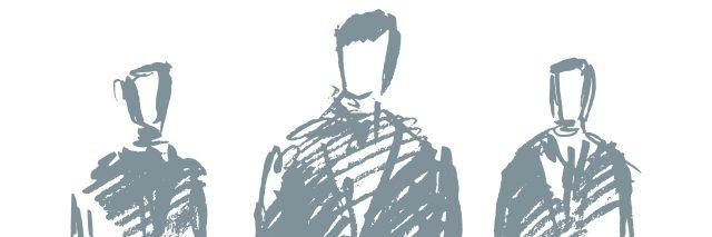 Standing businessman concept vector sketch.