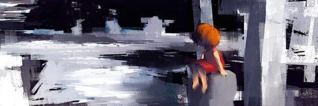 digital painting of red dress girl sitting on the concrete structure in abandoned town, acrylic on canvas texture