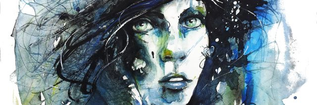 A watercolored image of a woman's face and hair.