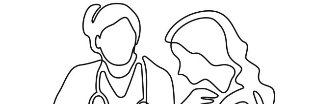 an illustration of a doctor and a woman drawn with a continuous line