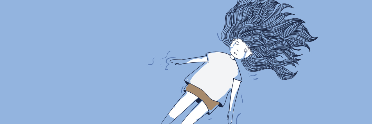 A woman in a body of water, crying, illustrated.