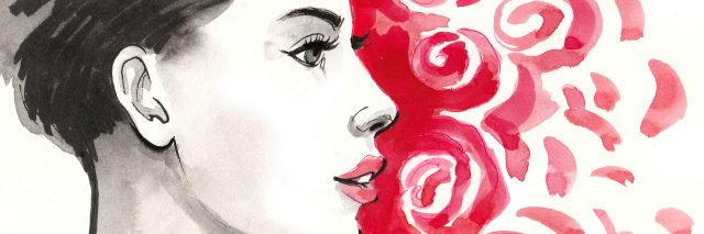 Watercolor sketch of a beautiful woman profile and red roses