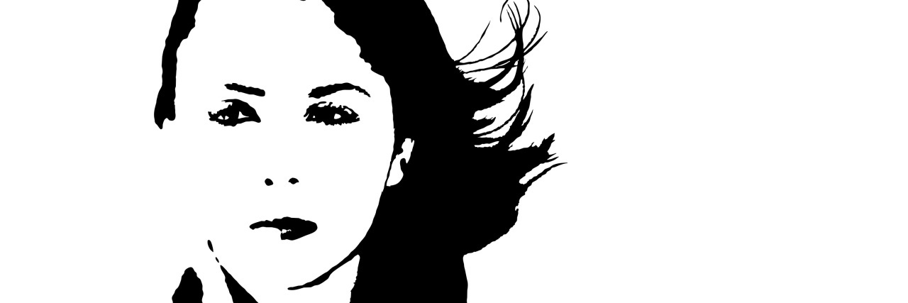 black and white woman windblown hair