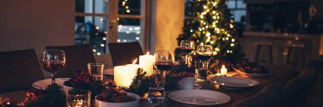 A set table and Christmas tree.