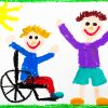 Colorful drawing of smiling boy sitting in wheelchair, with his non-disabled friend.