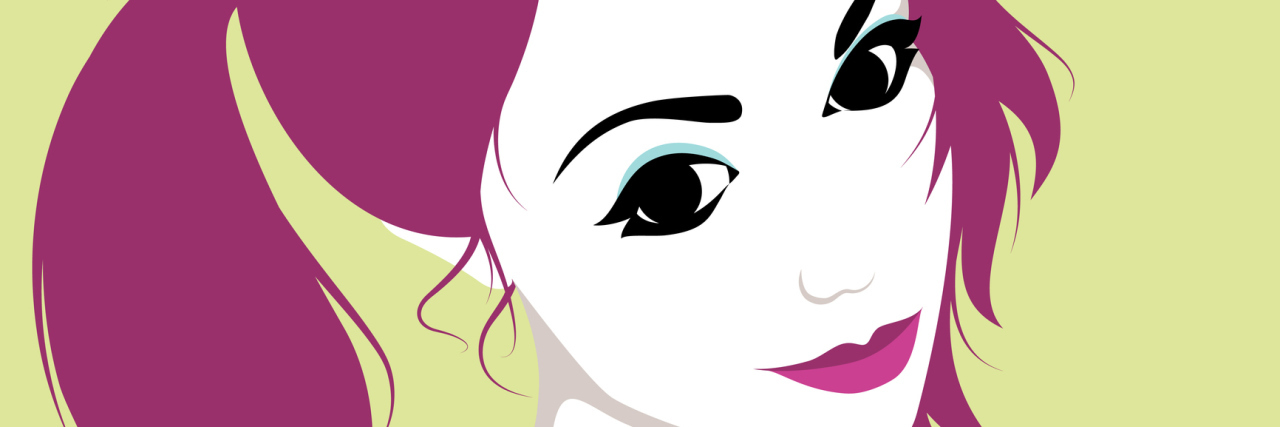 Vector illustration of beautiful naughty girl with ponytails