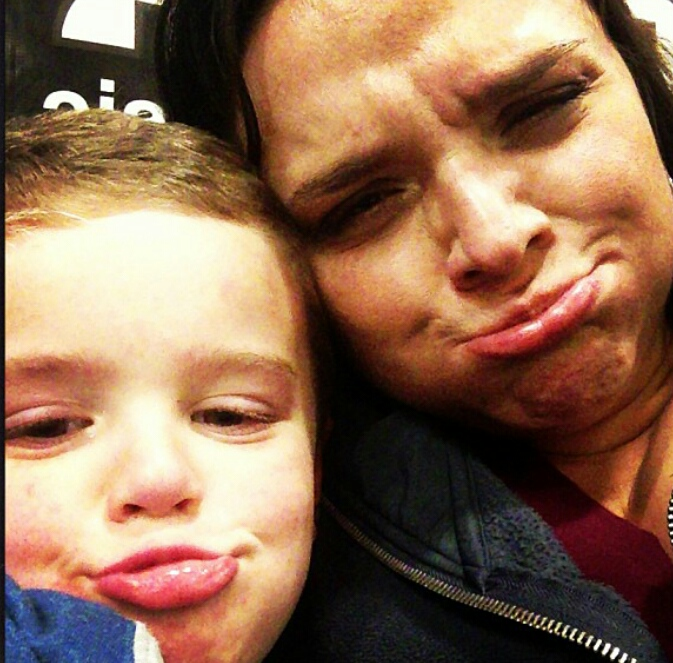 mom and son making silly faces
