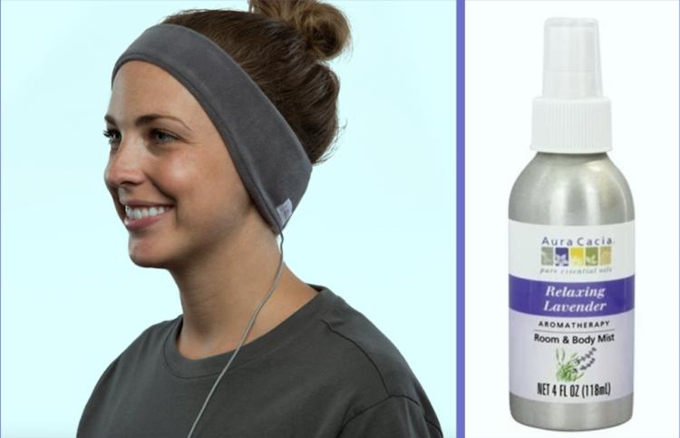 head phones and lavender spray