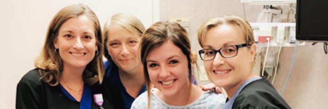 raven walton with three nurses in a doctors office