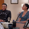 Dre and Rainbow Johnson talking to the doctor