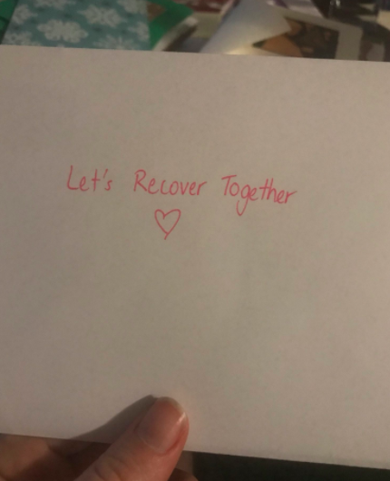envelope that says let's recover together