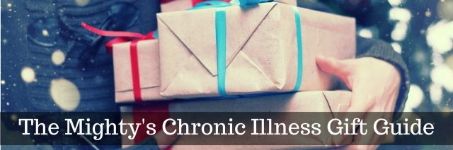 The Mighty's Chronic Illness Gift Guide, photo of arm holding stack of wrapped presents