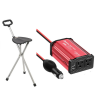cosmetic bag, folding cane seat and power inverter