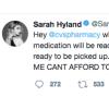 Headshot of Sarah Hyland with photo of a tweet Sarah Hyland posted