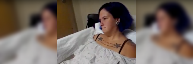 woman in hospital gown