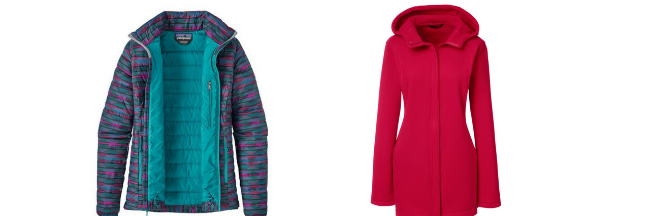 patagonia down jacket and lands end fleece jacket