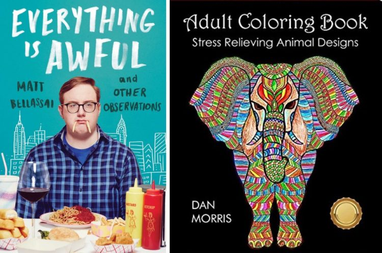 Everything Is Awful by Matt Bellassai and a coloring book