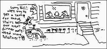 John Callahan cartoon, man in wheelchair sitting outside inaccessible restaurant.