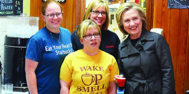 Hillary Clinton visits Em's Coffee.