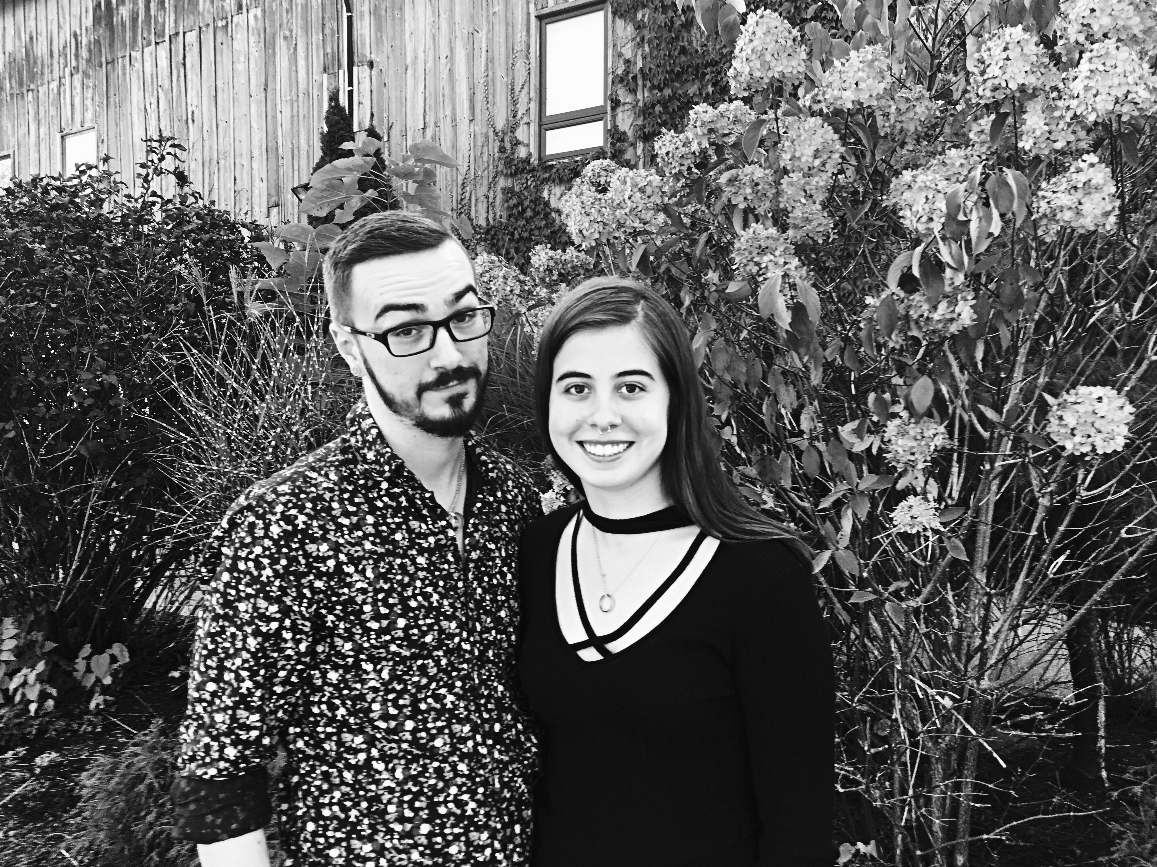 A black and white photo of the writer and her boyfriend.