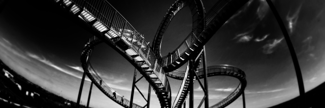 black and white picture of a roller coaster