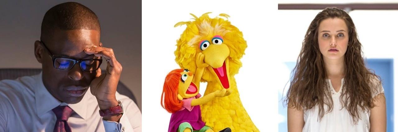 Randall Pearson, Julia the Muppet, and Hannah Baker