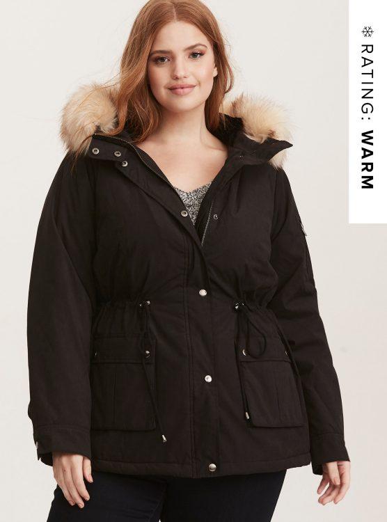 torrid Twill Sherpa Lined Anorak Outwear Jacket