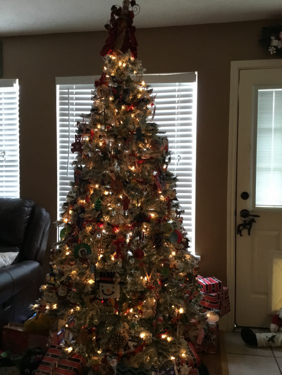 christmas tree with lights and ornament