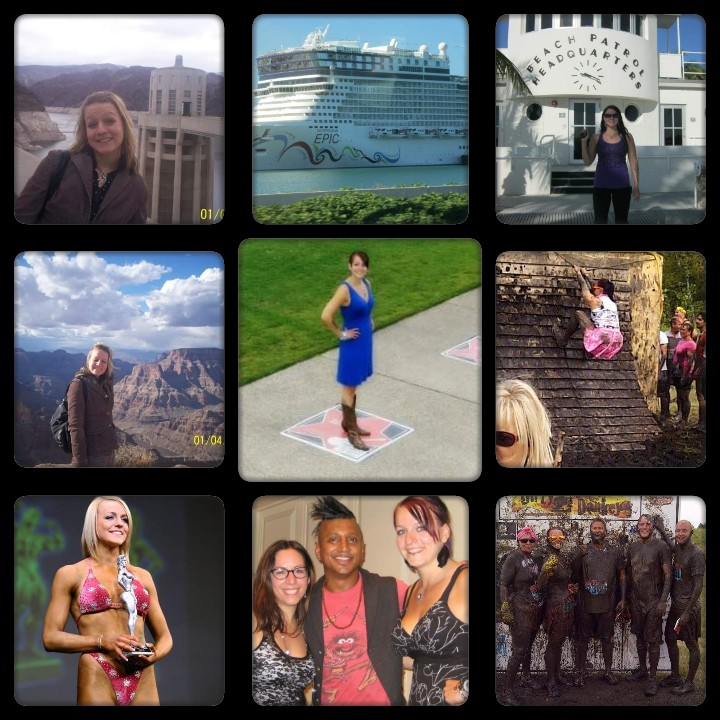 A collage of nine photos, showing some of hte things the writer has done. Including images of a cruise ship, her holding a trophy, and time with friends.