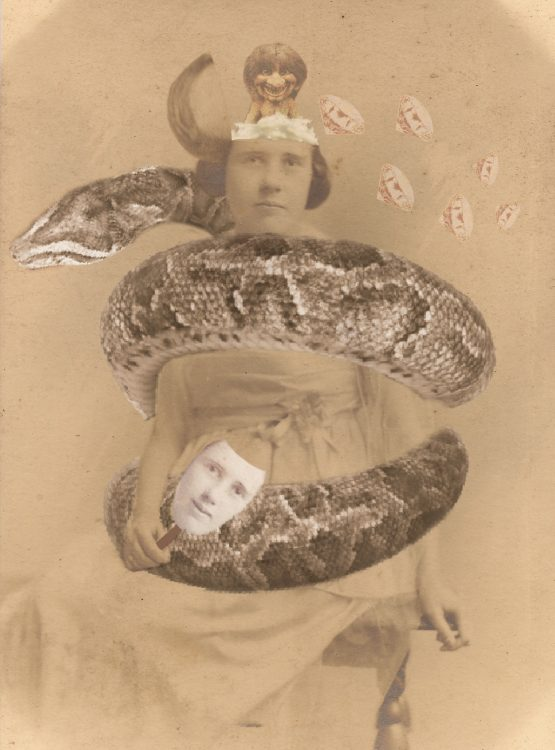 a photo composite of a woman being squeezed by a snake