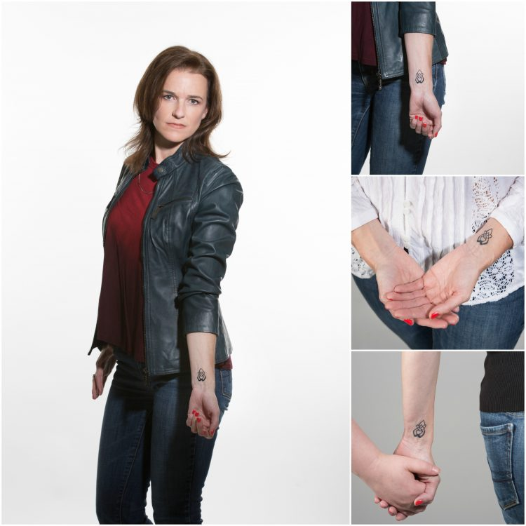 woman with rose on fire tattoo for sexual assault survivors collage holding hands