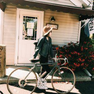 Jessica riding her bike.