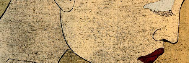 Woodprint technique on black paper of a sad, thinking woman's portrait depicting feminine fragility.