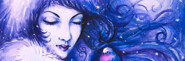 A watercolor image of a woman n front of the moon and snow