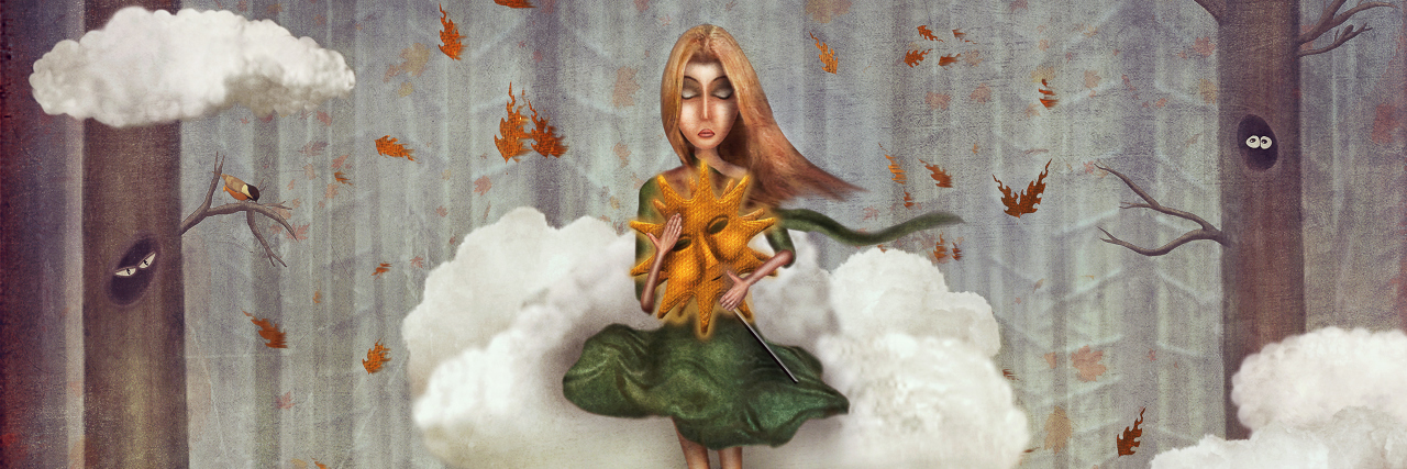The little girl sits on a cloud in autumn forest. Beautiful nature background