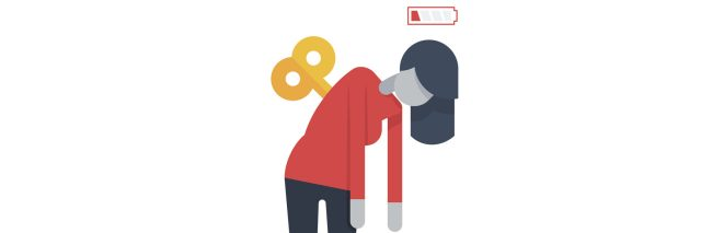 An illustration of a woman with a wind up tool on her back, and a depleted battery near her head.