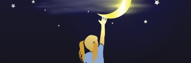 illustration of girl reaching into the sky and grabbing the moon