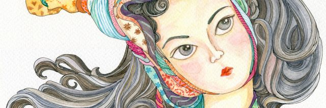 illustration of a woman with her hair pulled up and wrapped in colorful scarves