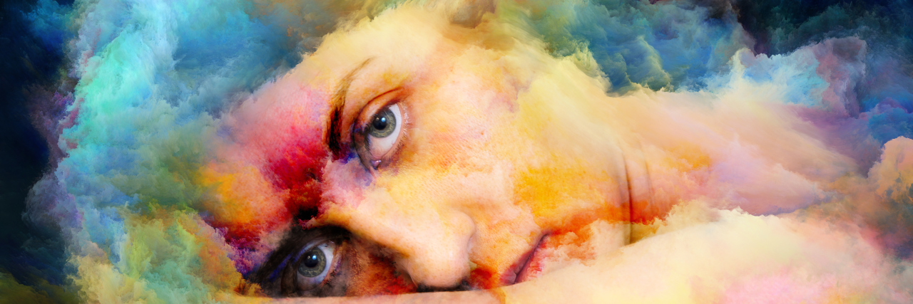 Surreal female portrait blended with vivid colors